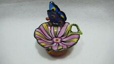 Limoges France Trinket Box, Butterfly On A Flower, Mint!