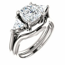 1.50 carat Cushion & Trillion cut Diamond Platinum Engagement Ring GIA F VS2