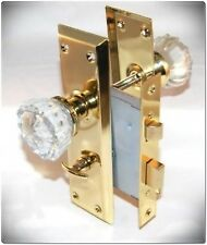 Interior Door Knobs Lock Mortise Body Skeleton Crystal Glass Decor Pull Gold Set