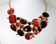 Joan Rivers Bold Statement Bib Necklace - Gold with Shade of Red Rhinestones