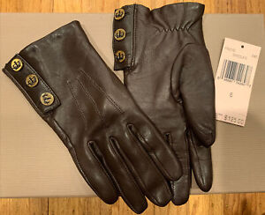 JUICY COUTURE BROWN LEATHER GLOVES LINED PINK CASHMERE SIZE 6 (XS)