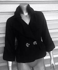 MOSCHINO Black Knit Wool Embellished Rhinestone Peplum Coat Jacket RARE!!