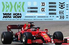 1/18 Mission Schwingen Aufkleber x f1 Ferrari sf21 2021 Leclerc Sainz TB Decal t...