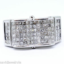 14k Oro Blanco Hombres Anillo Con Diamante 3 Quilate Corte Princesa