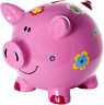 Mousehouse Gifts Large Pink Pig Piggy Bank Money Box with Flowers for Girls and