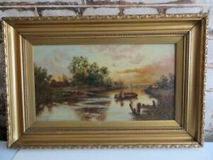 really old painting oil RIVER BOAT BARGE  signed 1920
