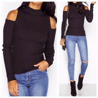 WOMENS LONG SLEEVE HIGH NECK RIB KNITTED CUT OUT COLD SHOULDER JUMPER TOP