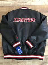 $225 STARTER Mens XL Satin Jacket  SPELLOUT Snap Zip 019MN004 Black Red NWT
