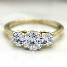 1.51Ct Three Stone VVS1-F Moissanite Diamond Engagement Ring 09Ct Yellow Gold
