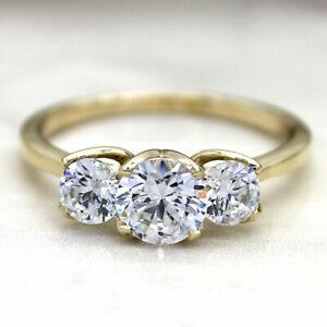 1.51Ct Three Stone VVS1-F Moissanite Diamond Engagement Ring 09Ct Yellow Gold
