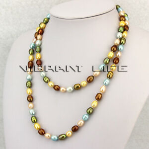 """40"""" 7-9mm Multi Color Rice Freshwater Pearl Necklace Strand Jewelry"""