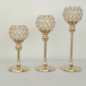 RC10* Crystal Hollow Wedding Party Candle Holder Decor Lamp Light Stand Retro