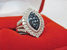 1 CT Genuine Marquise Shape Blue & White Diamond Halo Cocktail Ring Silver Sz 7