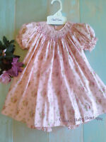NWT Petit Ami Pink Bishop Smocked Rose Floral Baby Girls 2pc Dress 3 6 9 Months