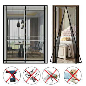 Magnetic Door Mesh Black Fly Screen Magic Mosquito Bug Curtain Hands Free