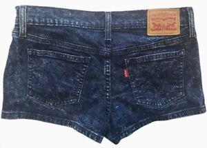 Levi's Shortie Shorts Juniors Low Rise Dark Acid Wash Size 28