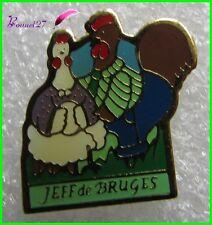 Pin's Les Oeufs de Pâques Les Chocolats JEFF DE BRUGES Poule et Coq Cock   #H4