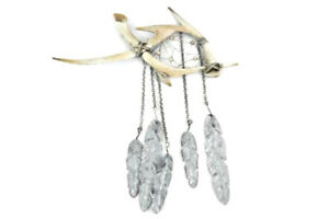 Metal Antlers Dream Catcher Wall Decor Rhinestone Wind Chime Tin Feathers