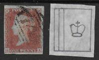 "SG8. 1d.Red Brown.WMK.VARIETY-""Crown At Right & 2 Marginal Wmk.Lines"". Ref.0/83"
