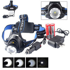 ZOOM 10000LM CREE XM-L XML T6 LED Headlamp Headlight Lamp Light Charger*Battery