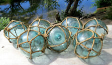 "Japanese Glass Fishing Floats 3.5"" Lot-7 Aqua Matching Unique Nets Antique!"