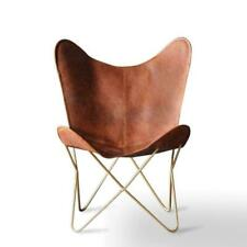 Tan Leather Butterfly with Gold Base Industrial retro occasional Chair- relax