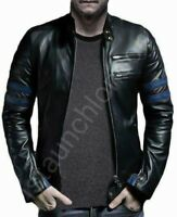 NEW MEN GENUINE SHEEP/COWHIDE LEATHER BLACK SLIM FIT BIKER STYLE JACKET