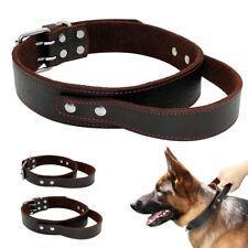 Leather Dog Collar with Handle Heavy Duty for Medium Large Dog Training Labrador