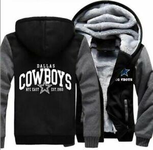NEW Men's Dallas Cowboys Hoodie Zip up Jacket Coat Winter Warm Black and Gray