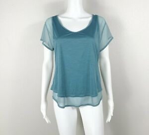 LULULEMON Set The Course Short Sleeve Top Shirt Mesh Pacific Breeze Size 8  NTSF
