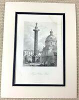 1860 Antique Engraving Print Ancient Column of Constantine The Burnt Pillar Art