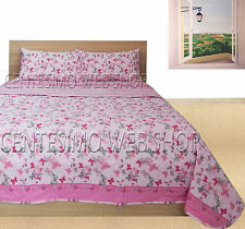 TRAPUNTINO MATRIMONIALE COTONE MADE ITALY QUILT COPRILETTO PIAZZE ROSA RIGHE TFR