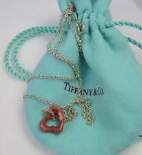 TIFFANY & CO Elsa Peretti Sterling Silver Pink Rhodonite Open Heart Necklace