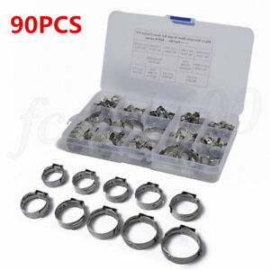 90x Stainless Steel Auto Wire Hose Tube Pipe Clamping Clamp Clip Ring 5.3-22.6mm
