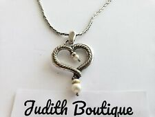 BRIGHTON QUEEN OF PEARL Heart Silver Pendant NECKLACE