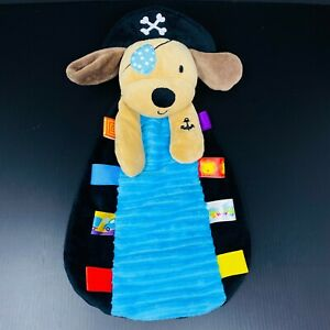 """Taggies Tan Puppy Pirate Dog Baby Lovey Black Blue Eye Patch Hat Security 13"""""""