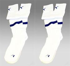 2 x New Puma Team Football Socks White with Blue Trim Uk Youth 2-5 Eur 35-38