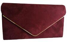 Burgundy Clutch Bag Claret Faux Suede Evening Bag Red Wine Prom Shoulder Bag
