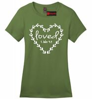 Loved Religious Ladies Soft T Shirt Jesus Christian Bible Verse Graphic Tee Z4