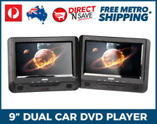 """9"""" Dual Screen In-Car Portable DVD Player USB SD Laser Remote Control Headphones"""