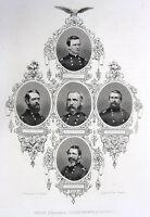 Civil War GENERALS John Sedgwick George Crook Merritt ~ 1865 Art Print Engraving