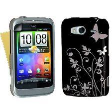 Zubehör für HTC Wildfire S Beste Harte Blumen Schmetterling Schutzhülle Cover Haut UK