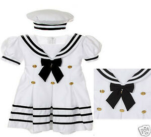New Baby Girl, Toddler Sailor Nautical Party Dress Outfits New born - 4T White