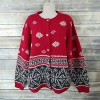 Eddie Bauer Size XLT Red Gray Cardigan Sweater Fair Isle Nordic Wool Alcapac