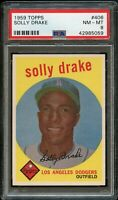 1959 Topps BB Card #406 Solly Drake Los Angeles Dodgers PSA NM-MT 8 !!