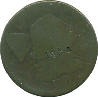 1794 LARGE CENT 1C LIBERTY CAP (DETAILS COUNTERSTAMP) OBV'1794' REVERSE 'X'