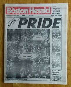 BOSTON HERALD June 15, 1984 CELTICS PRIDE Newspaper CHAMPIONS Bird McHale Parish
