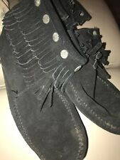 Minnetonka Black Suede Ankle Boots / Concho/ Size Zip Boot - Size UK7/US8