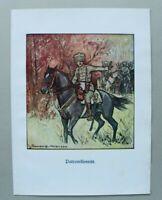 Patriotik Kunst Druck 1914-1918 L Berwald Halensee Patrouillenritt Husar 1.WK WW