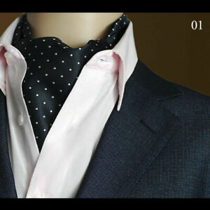 Mens Classic Paisley Flower Cravat Wide Ties Polka Dots Floral Scarf Ascot Tie